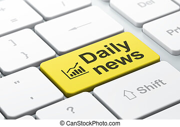 News concept: computer keyboard with Growth Graph icon and word Daily News, selected focus on enter button, 3d render