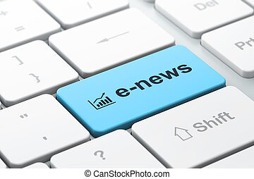 News concept: computer keyboard with Growth Graph icon and word E-news, selected focus on enter button, 3d render