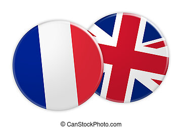 News Concept: France Flag Button On UK Flag Button, 3d illustration on white background
