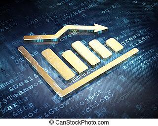 News concept: Golden Decline Graph on digital background, 3d...