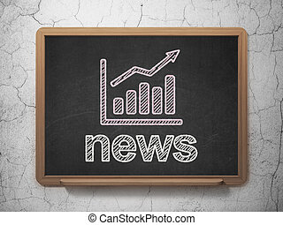 News concept: Growth Graph and News on chalkboard background