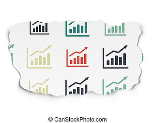 News concept: Growth Graph icons on Torn Paper background