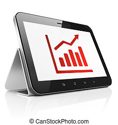 News concept: Growth Graph on tablet pc computer