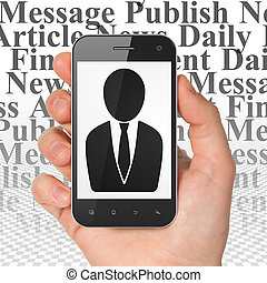 News concept: Hand Holding Smartphone with Business Man on display