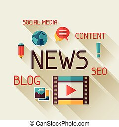 News concept illustration in flat design style