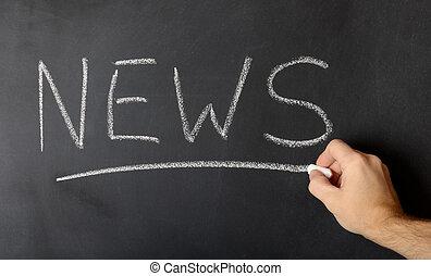 News concept on black blackboard with businessman hand