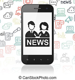 News concept: Smartphone with Anchorman on display