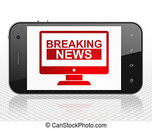 News concept: Smartphone with Breaking News On Screen on display