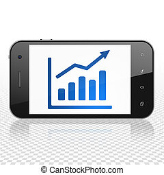 News concept: Smartphone with Growth Graph on display