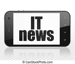 News concept: Smartphone with IT News on display