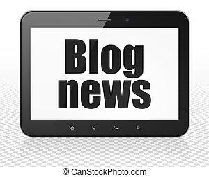 News concept: Tablet Pc Computer with Blog News on display