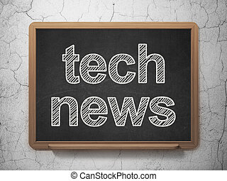 News concept: Tech News on chalkboard background