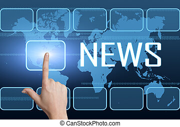 News concept with interface and world map on blue background