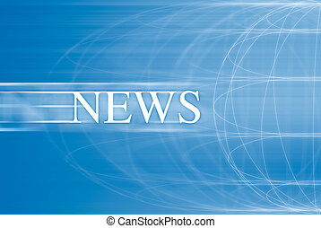 News on a blue background with world in motion
