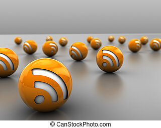 3d illustration of many rss icon balls, over gray background