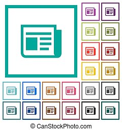 News flat color icons with quadrant frames
