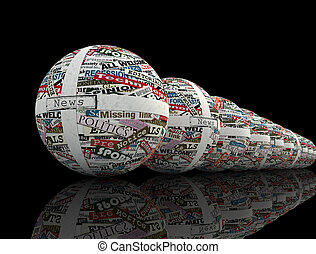 conceptual series of sphere realized with clippings of newspaper - rendering