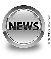 News glossy white round button