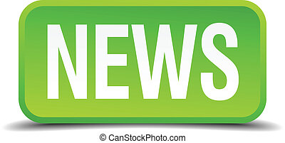 News green 3d realistic square isolated button