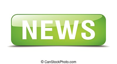 news green square 3d realistic isolated web button