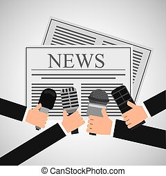 news hands reporter microphone and tape recorder vector...