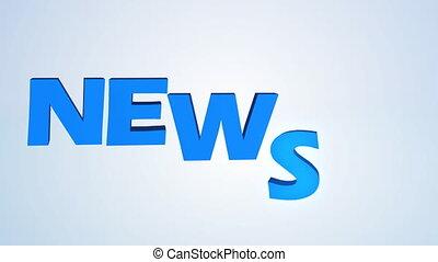News Headline - Animated 3D word - News and rotating globe.