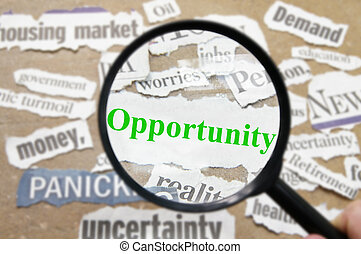 News headlines and magnifying glass with Opportunity text