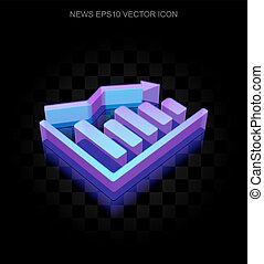 News icon: 3d neon glowing Decline Graph made of glass, EPS 10 vector.