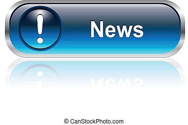 News icon, button - News button, icon blue glossy with ...
