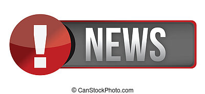 News icon, button, red glossy