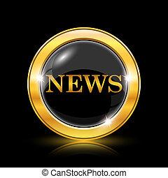 News icon - Golden shiny icon on black background - internet...