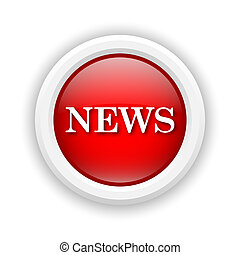 News icon - Round plastic icon with white design on red...