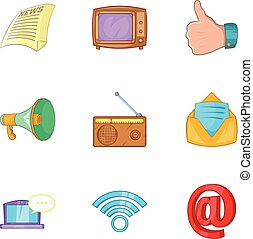 News icons set, cartoon style