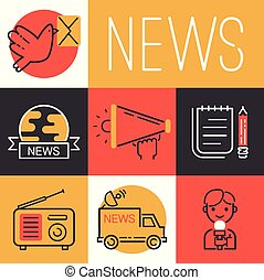 News icons vector journalist man character with microphone for TV interview on broadcasting van backdrop illustration set of journalism occupation correspondent set background