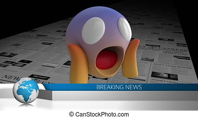 News interface and surprise face emoji against printing ...