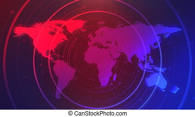 News intro graphic animation with grid and world map, ...