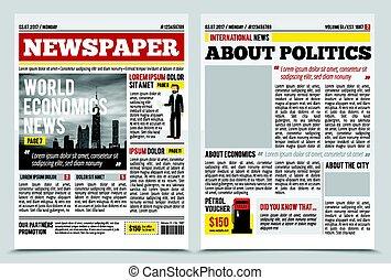 News Journal Spread Template - Daily newspaper journal...