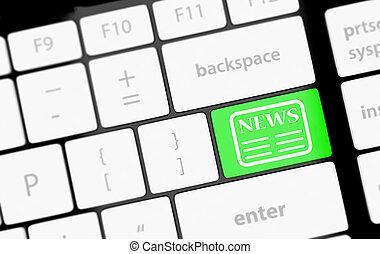 News key on a white keyboard