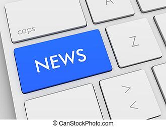 news keyboard concept 3d illustration