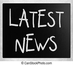 """news"""", """"latest, 黒板, チョーク, 白, 手書き"""