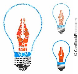 News maker bulb Composition Icon of Raggy Elements - News ...