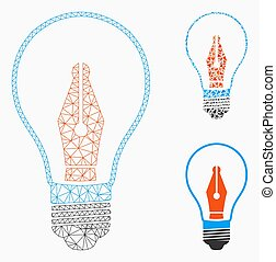 News Maker Bulb Vector Mesh Network Model and Triangle ...