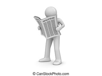 News, man with newspaper - 3d isolated characters series