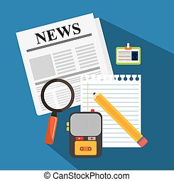 News media and broadcasting design, vector illustration ...