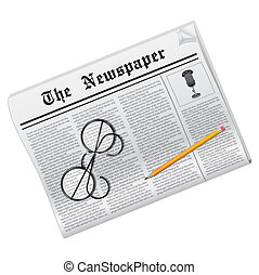 Newspaper - News. Newspaper, glasses and pencil isolated on...