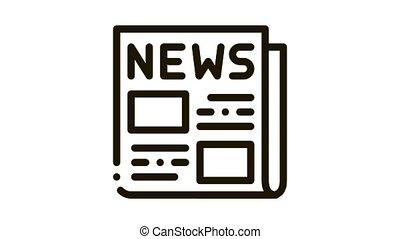 News Newspaper Icon Animation. black News Newspaper animated icon on white background
