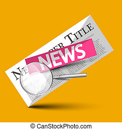 News - Newspapers Vector Symbol with Magnifying Glass on Yellow Background