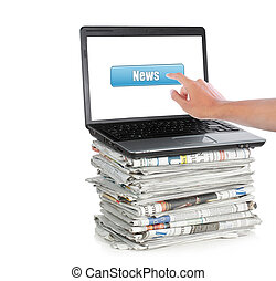 News on a laptop computer isolated on white