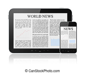 World news articles on modern digital tablet and mobile smart phone. Isolated on white.
