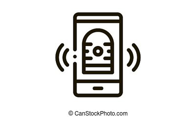 News On Phone Icon Animation. black News On Phone animated icon on white background